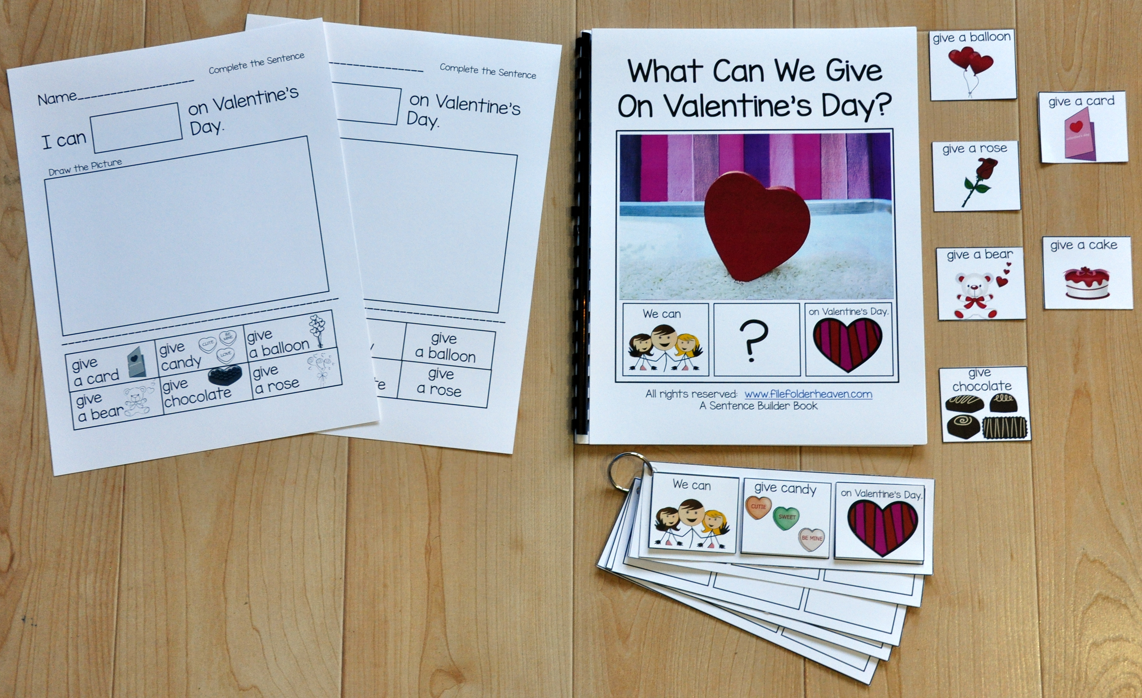 "Sentence Builder Book--""What Can We Give On Valentine's Day?"""