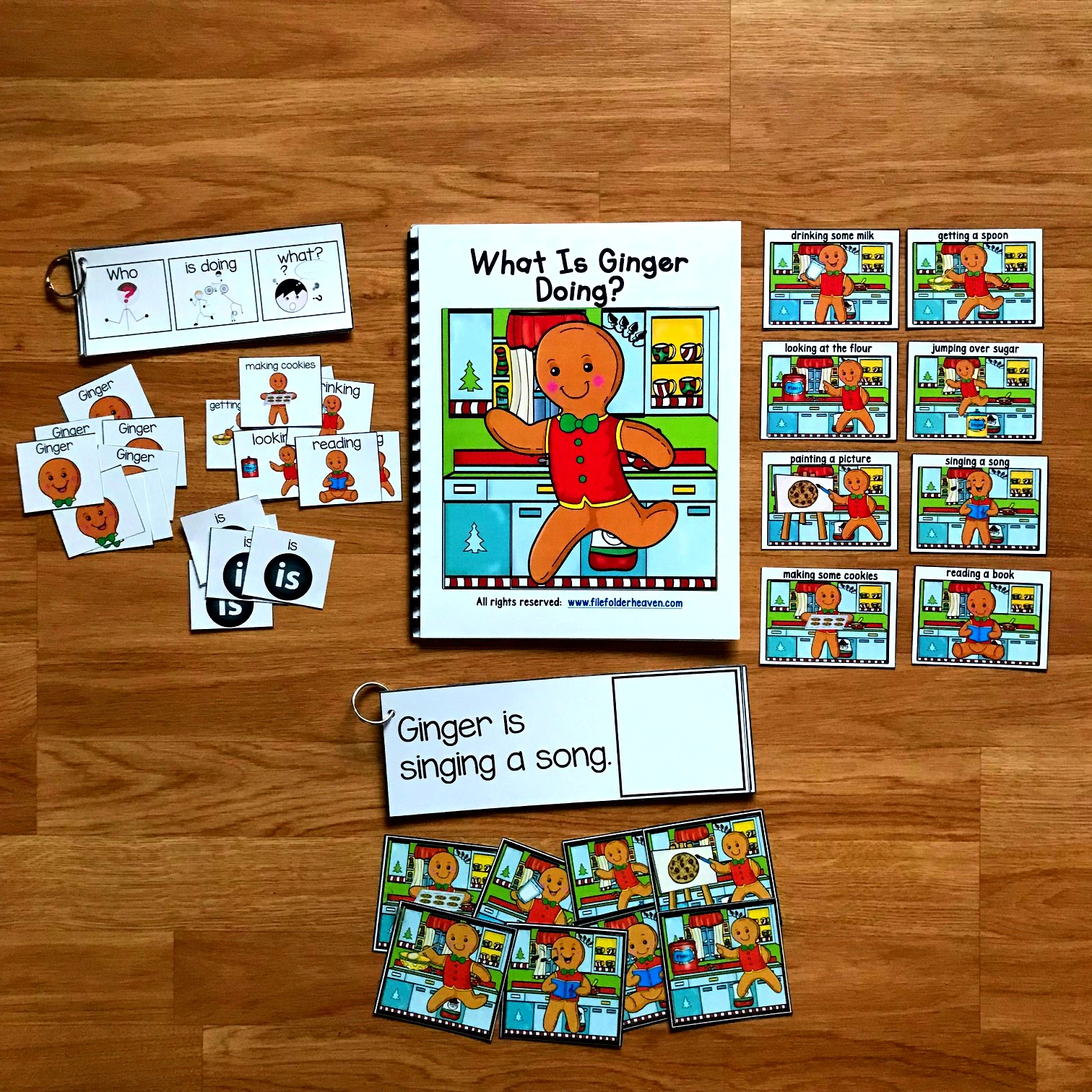 "Gingerbread Man Sentence Builder Book--""What Is Ginger Doing?"""