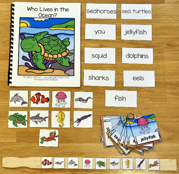Who Lives in the Ocean Adapted Book and Vocabulary Activities